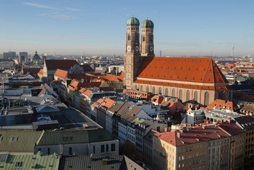 Panorama of Munich with Frauenkirche cathedral, Germany