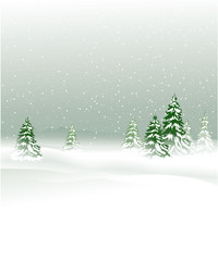 Winter landscape with Christmas trees