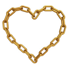 Chain in shape of heart. Isolated on white