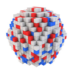 Abstract spherical shape of cubes