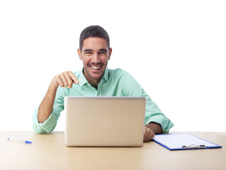 Smiling guy with his notebook