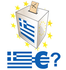 greek election day with urn on white bcackground