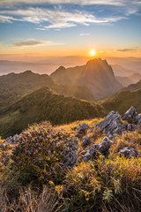 Sunset at the peak of Chiang-Dao national park.
