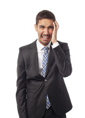 Young businessman crying
