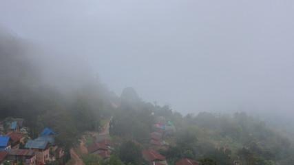 Time lapse fog mountain nature village landscape