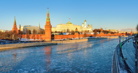 Moscow Kremlin in the winter, Moscow, Russia