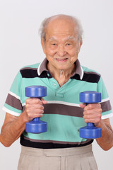 old man healthy exercise hold dumbbell
