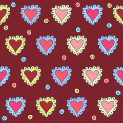 hand-drawing hearts seamless pattern abstract background on dark
