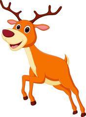 Happy deer cartoon jumping