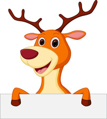 happy deer cartoon with blank sign