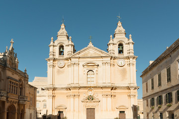 Famous St Paul cathedral in Mdina, Malta