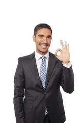 Satisfied businessman ok gesture