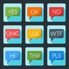 Colorful speech bubble with internet acronyms