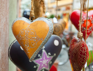 Heart hand decorated in Christmas style.