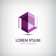 vector crystal abstract icon, logo