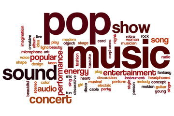 Pop music word cloud