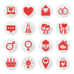 St. Valentine's day flat design icon set