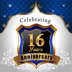 celebrating 16 years anniversary, sheild with royal emblem
