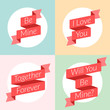 St. Valentine's Day card design. Ribbons with text