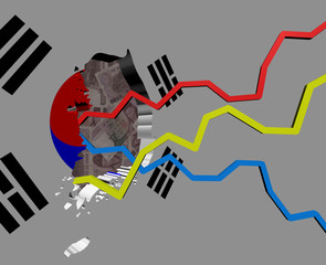 South Korea map with flag and graphs on Won illustration
