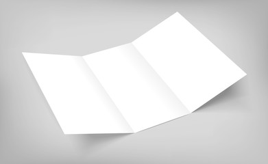 blank vector tri fold paper flyer on gray background