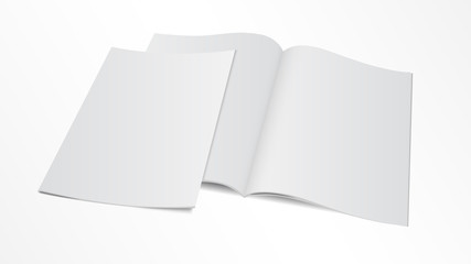 blank opened magazine template with cover