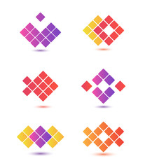 set of vector abstract colorful icons, logos