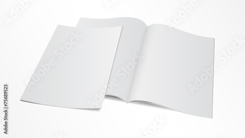 blank opened magazine template with cover - 75689523