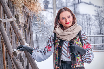 beautiful romanian girl in traditional costume