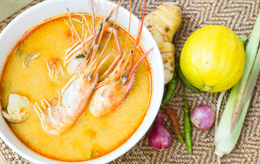 Thai  food, spicy  soup ,Tom Yum Kung