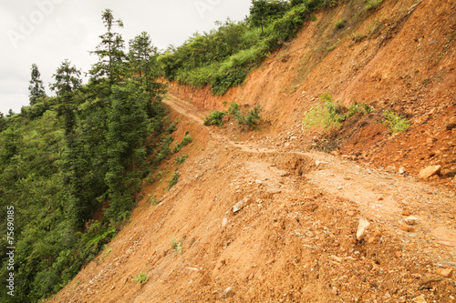 Leinwanddruck Bild Close view of landslide in china