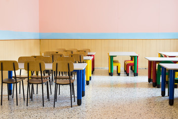 lunchroom of the refectory of the kindergarten with small benche