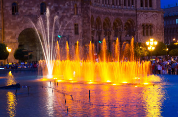 Singing fountains in the central square in Yerevan. The Republic