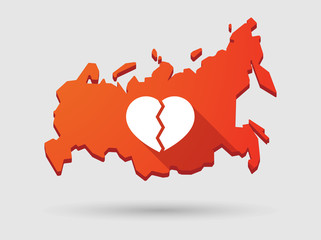 Long shadow Russia map icon with a heart