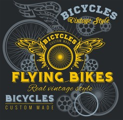 Vintage elements with Bicycle label set template.