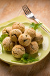 vegetarian meatballs with ricotta and spinach, selective focus