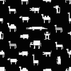 square digital simple retro animals pattern eps10