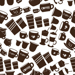 coffee cups  sizes variations icons seamless pattern eps10
