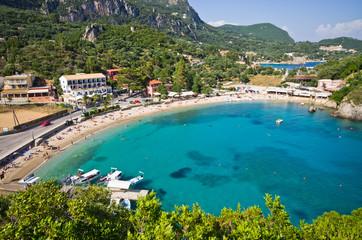 Paleokastritsa bay on Corfu, Greece