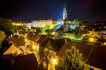 Night cityscape of Cesky Krumlov in Czech Republic