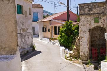 Narrow street in the village - Valanio, Corfu, Greece