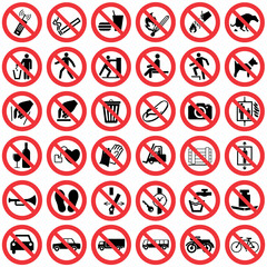 Standard Prohibition sign collection