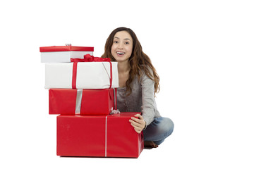 Woman with gift packages