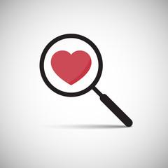 Vector Love Heart Magnify