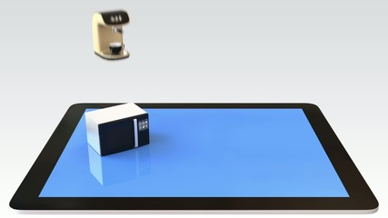 Smart kitchen appliances on a tablet PC
