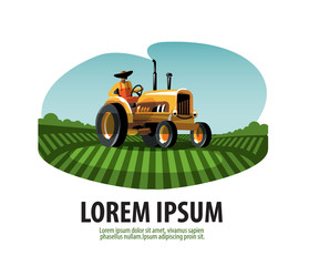 Farm. Tractor and Harvest. Logo, icon, emblem, template