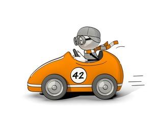 little sketchy man driving in an orange racing car