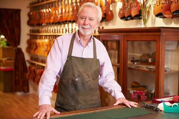 Portrait Of Violin Maker In Shop