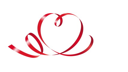 Аnimation of red curling ribbon in shape of heart