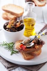 Italian traditional crostini with sea food and vegetable